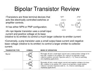 Bipolar Transistor Review