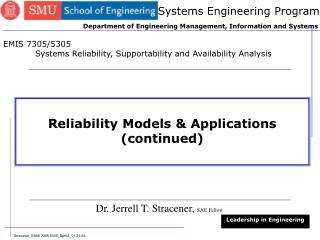 Reliability Models & Applications (continued)