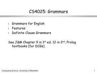 CS4025: Grammars
