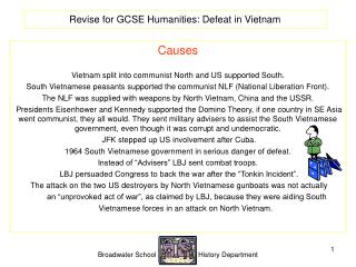 Revise for GCSE Humanities: Defeat in Vietnam