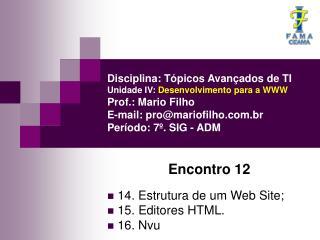 Encontro 12  14. Estrutura de um Web Site;  15. Editores HTML.  16. Nvu