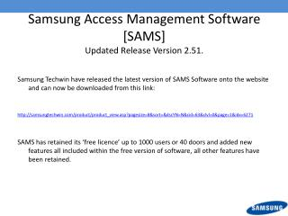 Samsung Access Management Software [SAMS]  Updated Release Version 2.51.