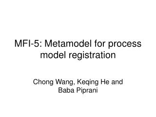 MFI-5: Metamodel for process model registration