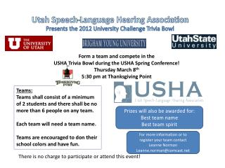 Form a team and compete in the  USHA Trivia Bowl during the USHA Spring Conference!