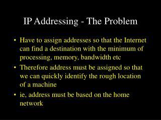 IP Addressing - The Problem
