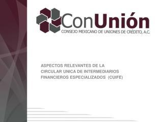 ASPECTOS RELEVANTES DE LA CIRCULAR UNICA DE INTERMEDIARIOS FINANCIErOS  ESPECIALIZADOS  ( cuife )