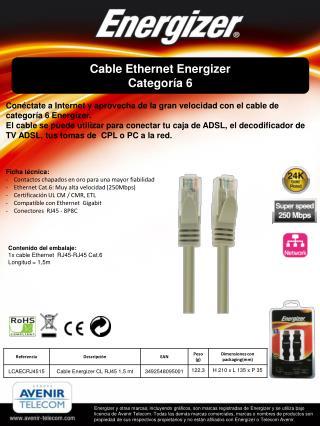 Cable Ethernet Energizer Categoría 6