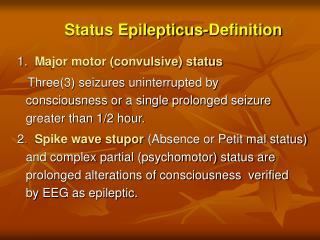 Status Epilepticus-Definition