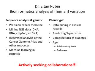 Dr. Eitan Rubin Bioinformatics analysis  of  (human)  variation