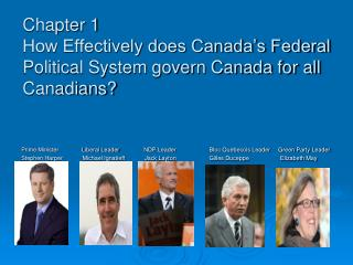 Chapter 1 How Effectively does Canada's Federal Political System govern Canada for all Canadians?