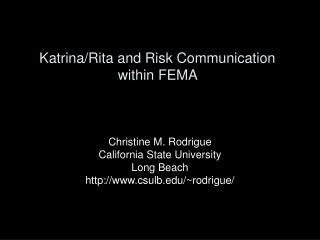 Katrina/Rita and Risk Communication within FEMA