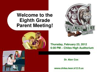 Welcome to the Eighth Grade  Parent Meeting