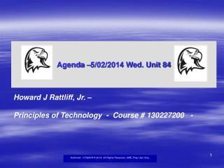 Agenda –5/02/2014 Wed. Unit 84