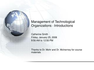 Management of Technological Organizations -  Introductions