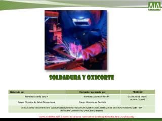 SOLDADURA Y OXICORTE