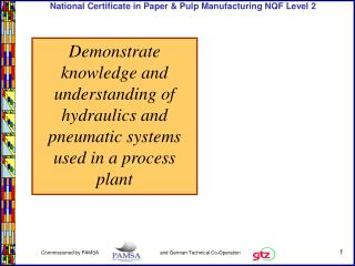 Demonstrate knowledge and understanding of hydraulics and pneumatic systems used in a process plant