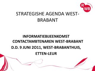 STRATEGISHE AGENDA WEST-BRABANT