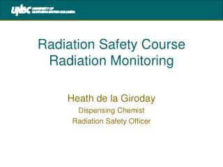 Radiation Safety Course Radiation Monitoring