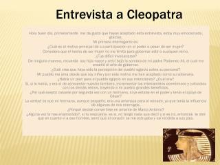 Entrevista a Cleopatra