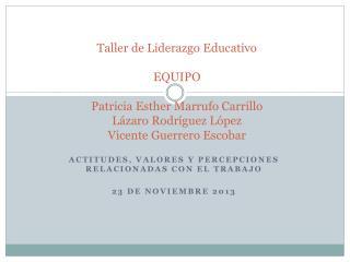 Actitudes, valores y percepciones relacionadas con el  trabajo 23 de noviembre 2013