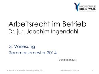Arbeitsrecht im Betrieb Dr. jur. Joachim Ingendahl