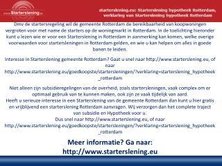 Meer informatie? Ga naar: starterslening.eu