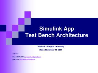 Simulink App  Test Bench Architecture