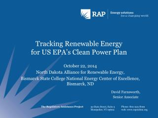 Tracking Renewable Energy  for US EPA's Clean Power Plan