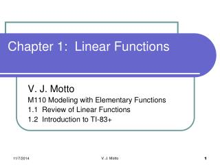 Chapter 1:  Linear Functions