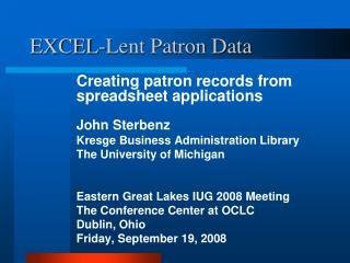 EXCEL-Lent Patron Data