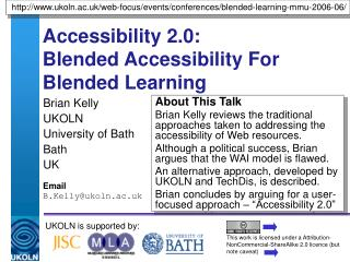 Accessibility 2.0:  Blended Accessibility For Blended Learning