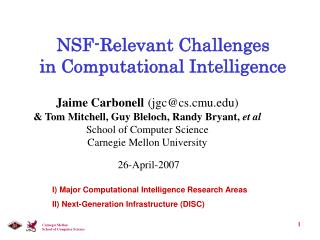 NSF-Relevant Challenges  in Computational Intelligence