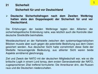Sicherheit für und vor Deutschland