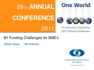B1 Funding Challenges for  SME's Alistair  Jaque         Nic Andrews