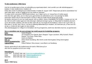 Til alle medlemmer i KNA Varna