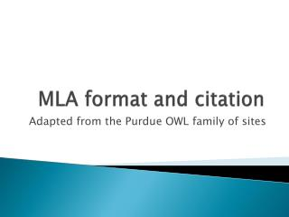 MLA format and citation