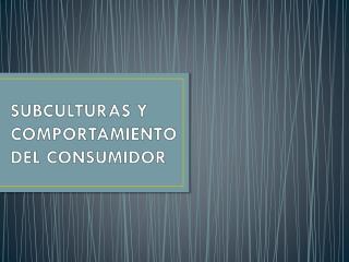 SUBCULTURAS Y COMPORTAMIENTO DEL CONSUMIDOR