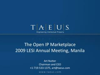 The Open IP Marketplace 2009 LESI Annual Meeting, Manila