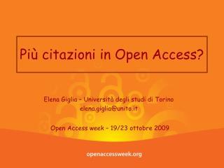 Pi� citazioni in Open Access?