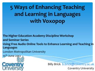 5 Ways of Enhancing Teaching and Learning in Languages with  Voxopop