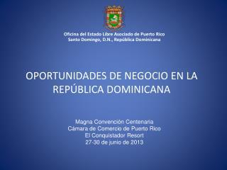 OPORTUNIDADES DE NEGOCIO EN LA REPÚBLICA DOMINICANA