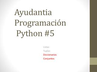 Ayudantia Programación  Python #5
