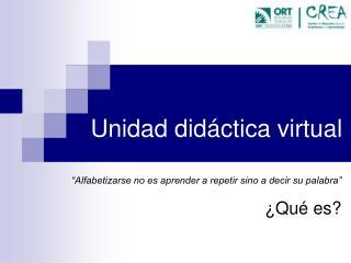 Unidad didáctica virtual