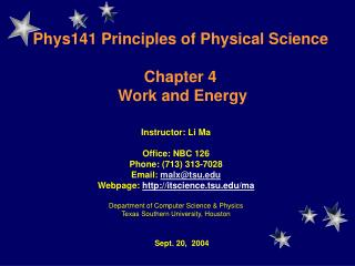 Phys141  Principles of Physical Science Chapter 4  Work and Energy
