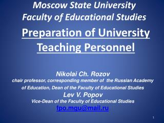 Preparation of University Teaching Personnel