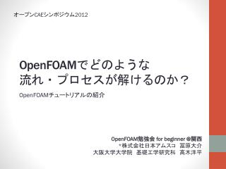 OpenFOAM でどのような 流れ・プロセスが解けるのか?