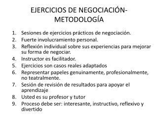 EJERCICIOS DE NEGOCIACIÓN-METODOLOGÍA