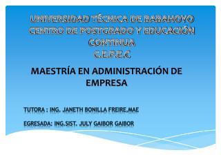 UNIVERSIDAD  T�CNICA  DE BABAHOYO CENTRO DE POSTGRADO Y EDUCACI�N CONTINUA C.E.P.E.C