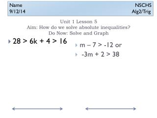 Unit 1 Lesson 5 Aim: How do we solve absolute inequalities?  Do Now: Solve and Graph