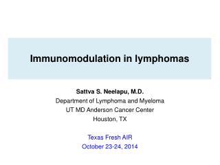 Immunomodulation in lymphomas